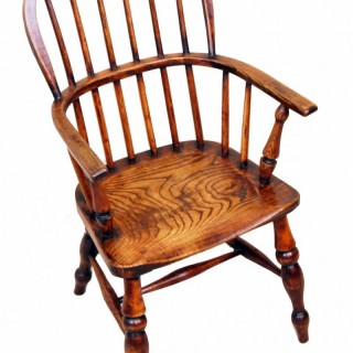 19th Century Ash & Elm Childs Windsor Armchair