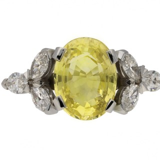 Vintage yellow Ceylon sapphire and diamond ring, circa 1960.