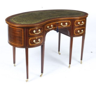 Antique Edwardian Mahogany Kidney Desk Writing Table c.1900