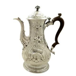 Antique Georgian Sterling Silver Coffee Pot 1759
