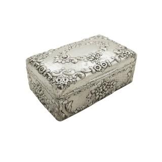 Antique Sterling Silver Cigarette Box 1901