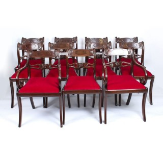 Antique Set 11 English Mahogany Regency Dining Chairs 19th Century