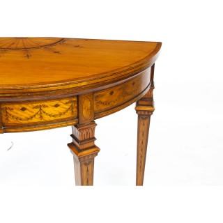 Antique Satinwood Demi-lune Card Table Filmer & Son 19th Century C1860