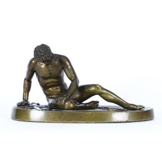 Antique Italian Grand Tour Bronze Sculpture of The Dying Gaul Ca 1860 19th C