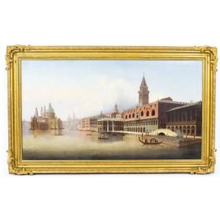 Antique Oil Painting Riva degli Schiavoni Venice Vavrinec Zabehlicky 19th C
