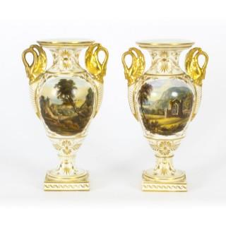Antique Pair Derby Gilt Swan Neck Handled Ovoid Cabinet Vases 18th Century