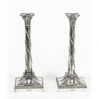 Antique Pair Sterling Silver Candlesticks Walker and Hall 1900