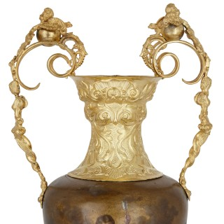 Pair of vermeil and vernis Martin Louis XV style vases