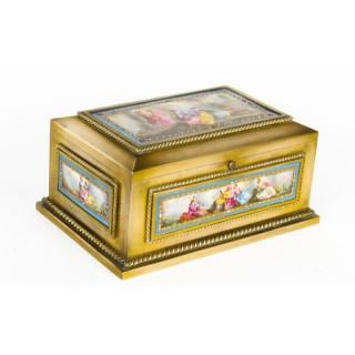 Antique French Ormolu & Sevres Porcelain Jewellery Casket C1880 19th C