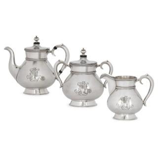 Three-piece Russian silver tea set