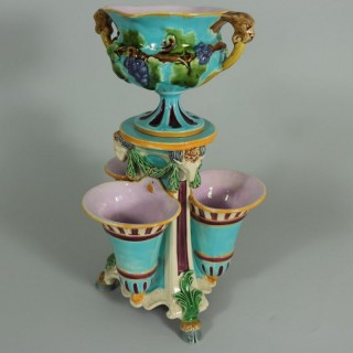 Minton Majolica Triple Flower Holder