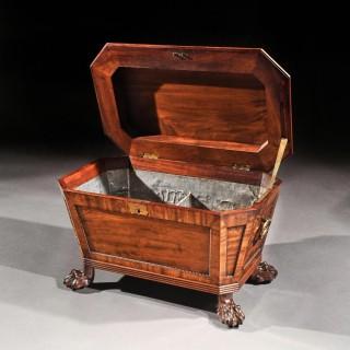 Regency Mahogany Wine Cooler Cellarette Of Sarcophagus Form