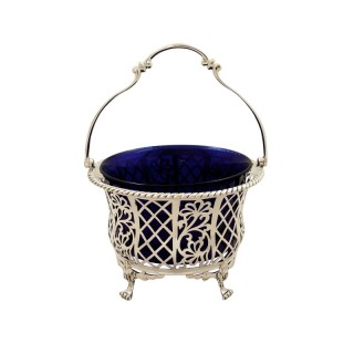 Antique Sterling Silver Pierced Basket with Liner 1926