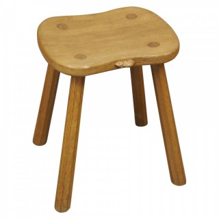 Carved Oak Mouseman Stool