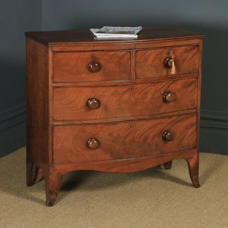 Antique English Georgian Regency Flame Mahogany Bow Front Chest of Drawers (Circa 1820)
