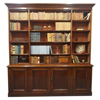 Large Victorian Mahogany Open Bookcase