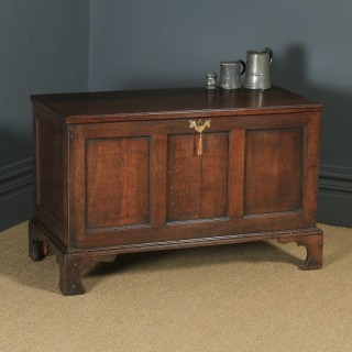 Antique English Georgian Oak Joined Triple Panel Mule Chest Blanket Box Coffer (Circa 1780)