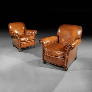 Antique Pair Of Leather Upholstered Club Armchairs