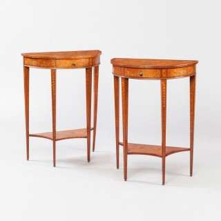 Pair of Console Tables in the Neoclassical Style Firmly to Edwards & Roberts