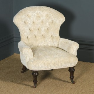 Small Antique English Victorian Cream Upholstered Occasional / Nursing Arm Chair (Circa 1890)