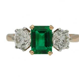 Edwardian Colombian emerald and diamond three stone ring, circa 1910.