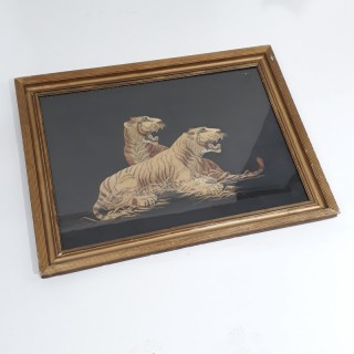 A Japanese framed silk embroidery of two tigers