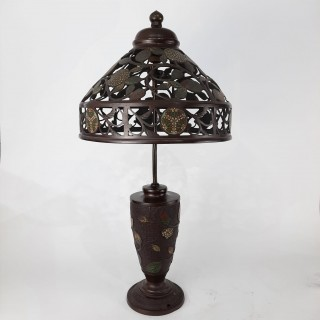 A Japanese Art Nouveaux style bronze lamp with cloisonné decoration