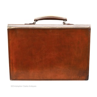 Leather Briefcase Stamped Equestrian