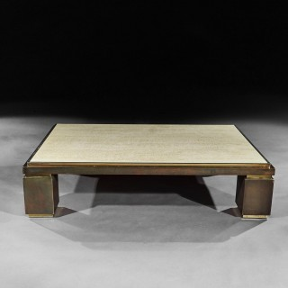 Mid-Century Modern Copper, Brass And Travertine Rectangular Coffee Table