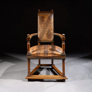 Unusual Spanish Embossed Leather Walnut Open Armchair
