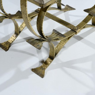 Pair of Mid-20th Century Spanish Gilt Metal and Linen Stools