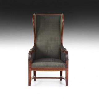 Early 19th Century Empire Mahogany Reclining Wing Back Armchair