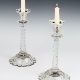 A PAIR OF UNUSUALLY TALL 18TH CENTURY FLAT CUT CANDLESTICKS