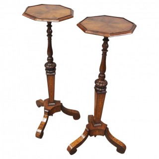 Pair of Queen Anne Style Torcheres / Candle Stands