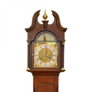 Antique Grandmother clock with Rocking Ship Dial