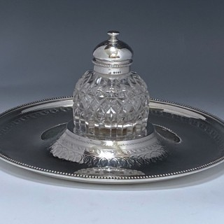 Antique Silver Victorian Inkstand made in 1881  London by Walter Barnard