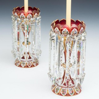 AN EXCEPTIONAL LARGE PAIR OF FINELY DECORATED OVERLAY LUSTRES