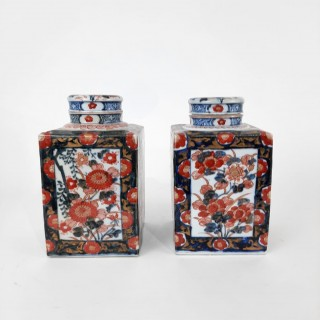 A small pair of Japanese Imari tea jars