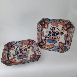 A pair of square Japanese Imari plates