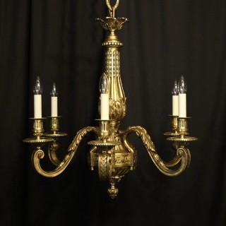 French Gilded Bronze 6 Light Antique Chandelier