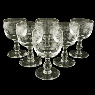 Set of Six Edwardian Wine Glasses