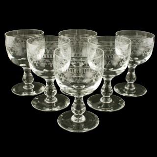 Set of Six Edwardian Wine Glasses