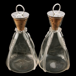 Pair of Edwardian Silver Stopper Carafes