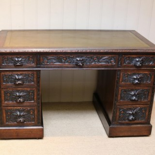 Victorian Green Man Carved Pedestal Desk