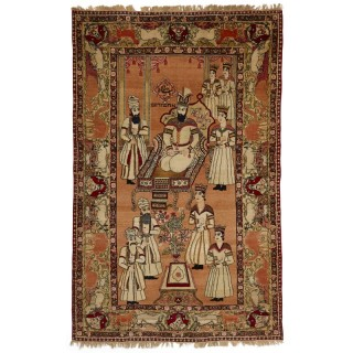 Large Persian carpet with illustration from the Book of Esther