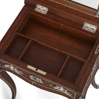 Napoleon III period dressing table mounted with silvered bronze, attributed to Diehl