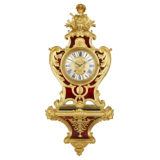 Louis XV style gilt bronze mounted tortoiseshell bracket clock by Gros