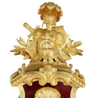 Louis XV style gilt bronze mounted tortoiseshell bracket clock by Gros