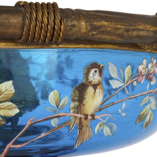 Very large gilt bronze and Bohemian blue enamelled glass centrepiece