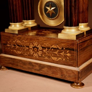A Very Stylish Charles X Rosewood/Palisandre Inlaid With Lemon Wood and Ormolu Portico Clock Circa: 1830